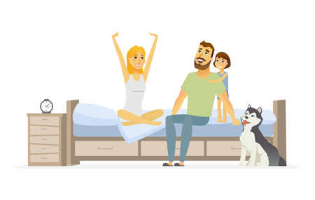 Family in the morning - cartoon people character isolated illustration on white background. An image of young parents, daughter and a dog in the bedroom, just waking up. A woman stretching and yawning Illustration