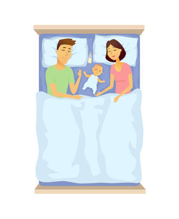 Young parents and baby sleeping - cartoon people character isolated illustration on white background. An image of mother and father in the bed with cute newborn child