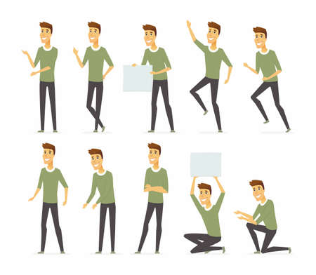Young handsome man - vector cartoon people character set isolated on white background. Person in green sweatshirt, grey trousers in different positions. High quality images for creating your animation Foto de archivo - 96039246