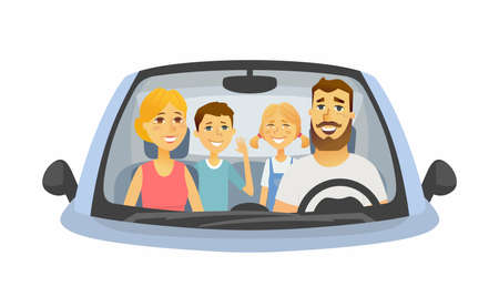 Family trip - cartoon people character isolated illustration on white background. An image of a young smiling parents with two cheerful children sitting in a car