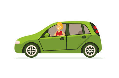 Young woman in a car - cartoon people character isolated illustration on white background. An image of a happy smiling person driving a green vehicle. High quality composition for your presentation Illustration