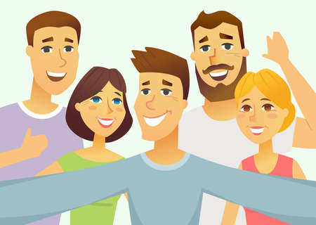 A group of friends - cartoon people character isolated illustration on light blue background. An image of young happy smiling men and women making selfie Ilustração