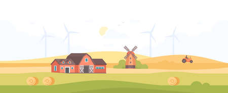 Countryside - modern flat design style vector illustration on white background. A high quality composition with a barn, field, silhouettes of windmills, tractor, haystacks. Organic farming concept