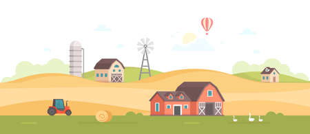 Countryside on modern flat design style vector illustration on white background.