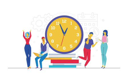Time management, flat design style colorful illustration on white background. A composition with office workers or business partners standing next to a large clock, trying to finish the project.