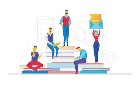 Business team - flat design style colorful illustration on white background. A composition with colleagues working on a project, sitting on big books. A woman holding a big letter Ilustração