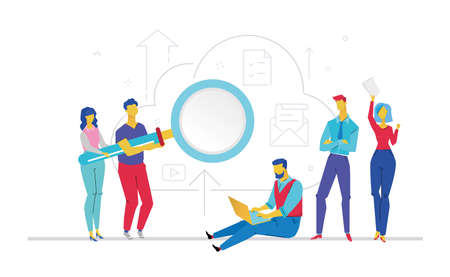 Teamwork - flat design style colorful illustration on white background. Metaphorical composition with colleagues working on a project, man and woman holding a big loupe, men with a notebook