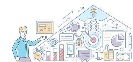 SEO optimization - modern color line design style illustration on white background. Banner header for your website. Work process, main concepts and infographics