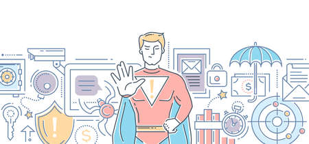 Internet security - modern color line design style illustration on white background with place for your text. Banner header for your website. Men in superhero costume protecting data