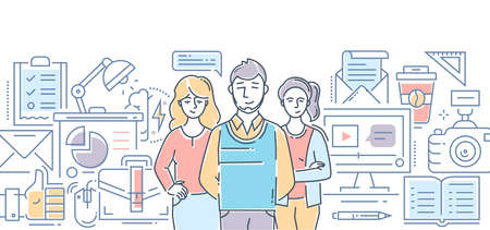 Design studio - modern color line design style illustration on white background. Banner header for your website. Company staff, tools, processes, metaphors Vettoriali