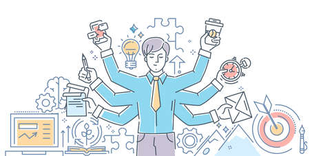 Creative process, modern line design style illustration on white background. Banner header for your website. An image of an inspired person, doing a lot of tasks simultaneously.