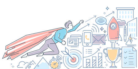 Business hero - modern color line design style illustration on white background. Banner header for your website. A person in a superhero costume flying up to the top