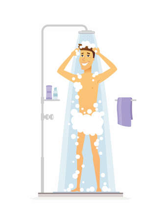 Young man taking a shower on cartoon people character isolated illustration on white background.