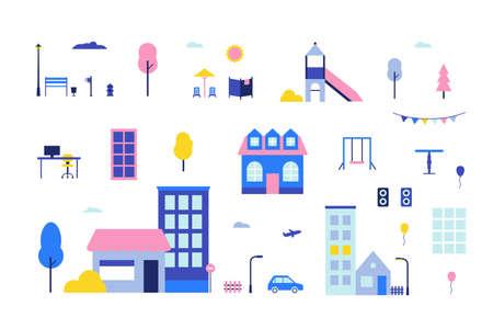 City elements image illustration Çizim