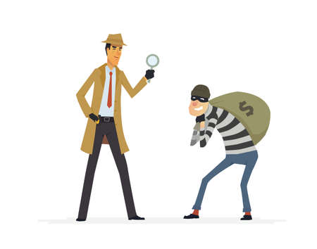 Detective catching a thief. Cartoon people characters illustration