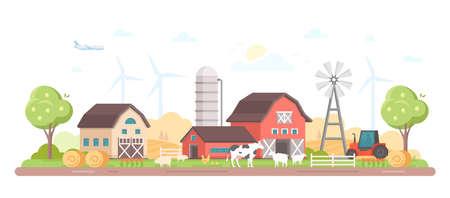 Village. Modern flat style illustration
