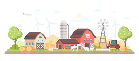 Village. Modern flat style illustration