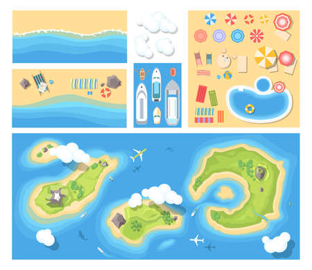 Beach holiday. Modern vector set of illustrations