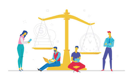 People scale on time against money illustration