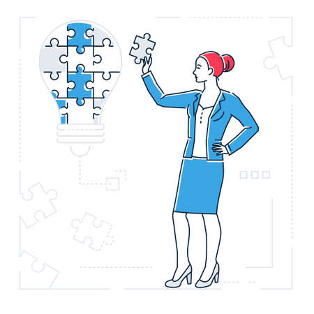 Cartoon woman image doing puzzle illustration Illustration
