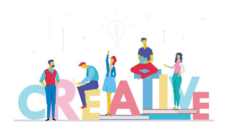 Creative business team. Flat style illustration Foto de archivo - 97348483