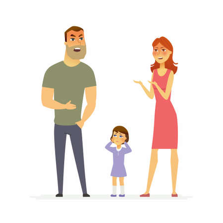 Family argument - cartoon people character isolated illustration Stock Vector - 97192547