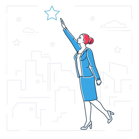 Cartoon woman reaching stars image illustration