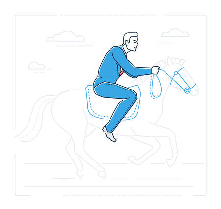 Cartoon man riding a horse image.illustration