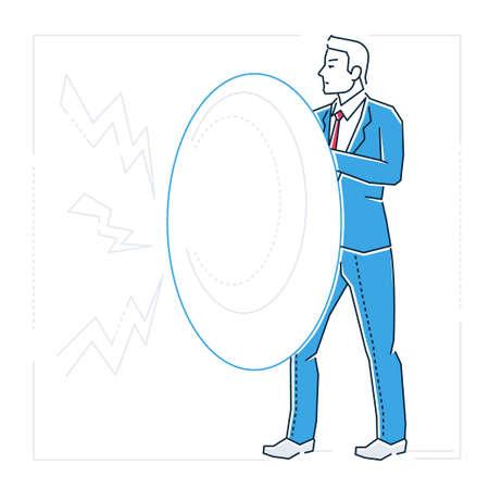 Cartoon man with shield image illustration