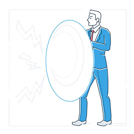 Cartoon man with shield image illustration Stok Fotoğraf - 97433947