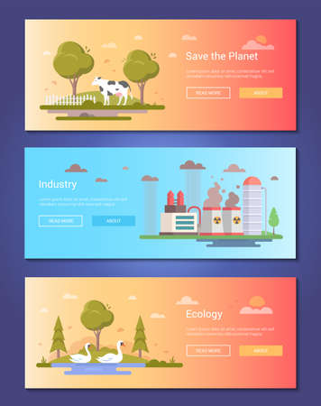 Save the planet modern concept flat style illustration.