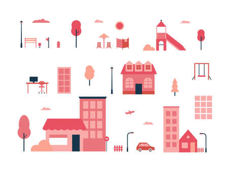 City life in flat style concept illustration.