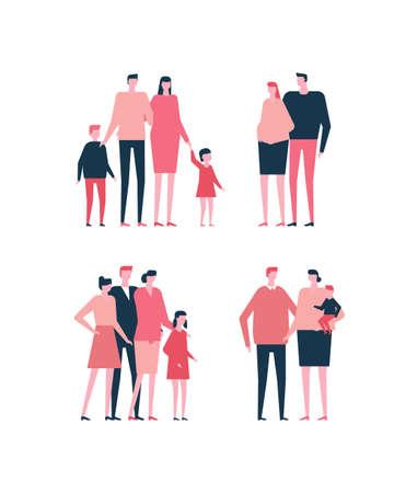 フラットスタイルのイラストで家族のセット。  イラスト・ベクター素材