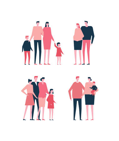 Set of family in flat style illustration.