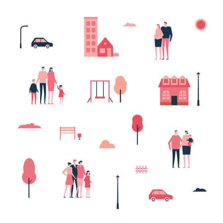 フラットスタイルのコンセプトイラストで街の家族。  イラスト・ベクター素材