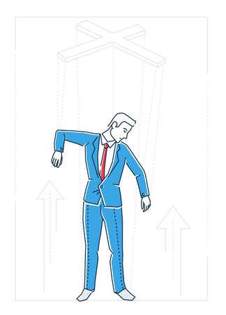 Marionette businessman - line design style isolated illustration