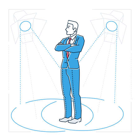 Confident businessman - line design style isolated illustration Illustration