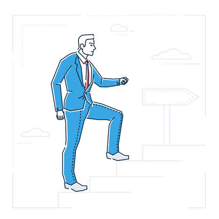 Businessman climbing a ladder, line design style illustration Çizim