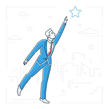 Businessman reaching out the star  line design style illustration