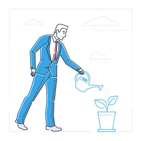 Businessman watering the plant  line design style illustration