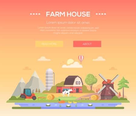 ファームハウス - モダンフラットデザインスタイルベクターイラスト