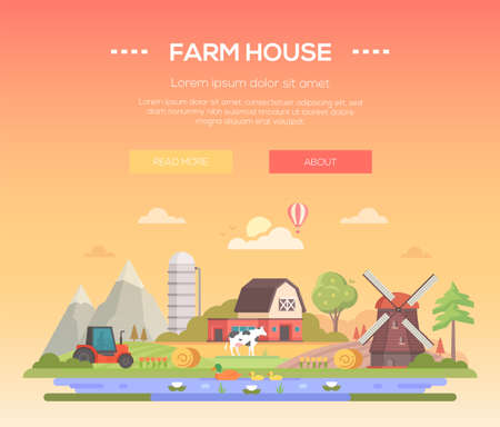 A Farm house - modern flat design style vector illustration