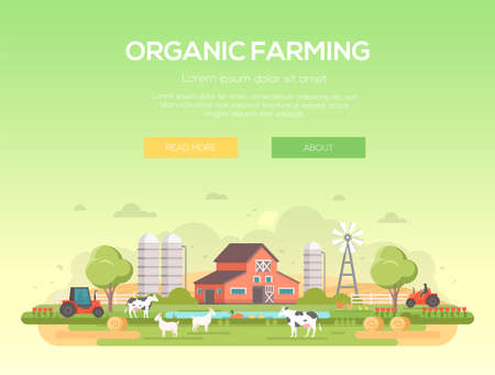 Organic farming flat style design concept illustration.