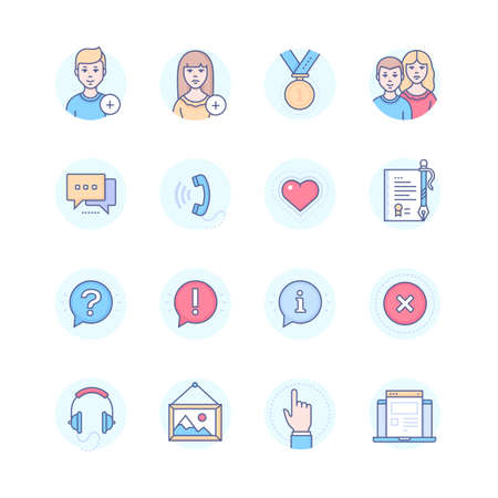 Social media modern line design style icons set