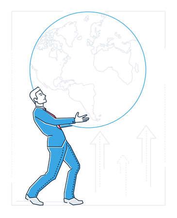 Businessman holding a globe  line design style illustration