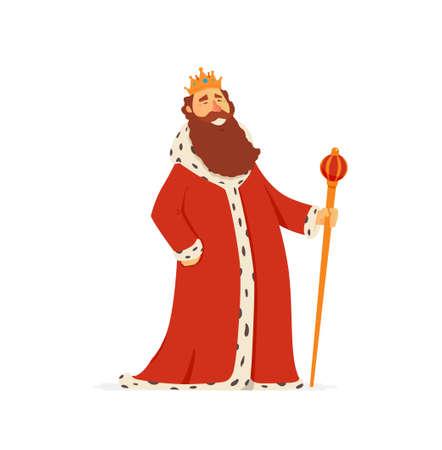 King - moderne vector cartoon personen personages illustratie Stock Illustratie