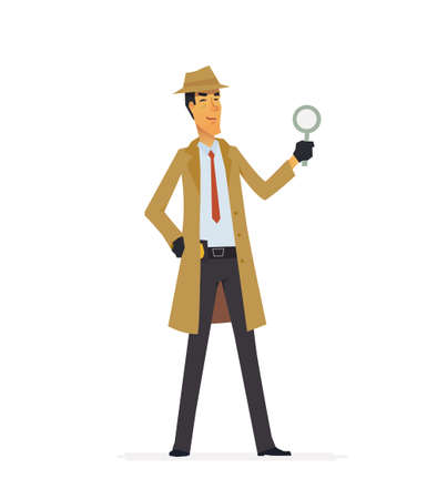 Private detective  cartoon character illustration