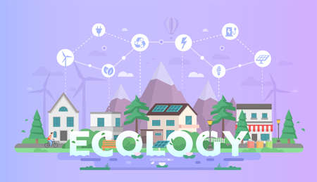 Eco friendly town modern flat design style  illustration