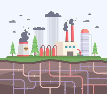 Factory with underground pipes modern flat design style  illustration