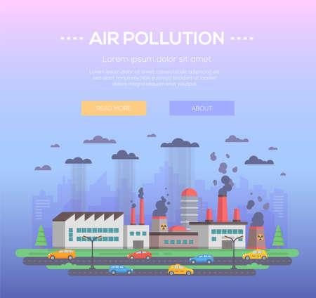 Pollution de l & # 39 ; air - vecteur moderne de style plat illustration vectorielle Banque d'images - 98087407